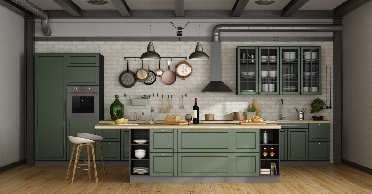 """alt=""""Sage green kitchens are a growing trend in modern homes"""""""
